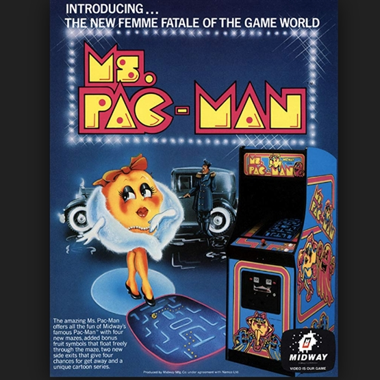 original Ms PAC man advertisement arcade game for hire