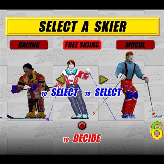 screenshot of our 2 player alpine racer skiing game for rent