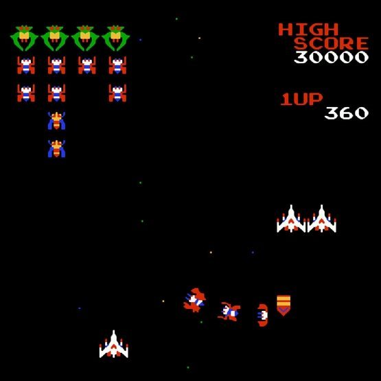 galaga gamplay arcade game for hire