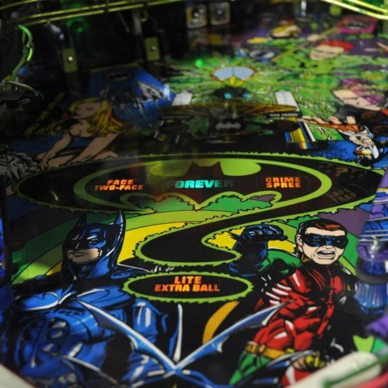 playfield of batman forever pinball machine for hire