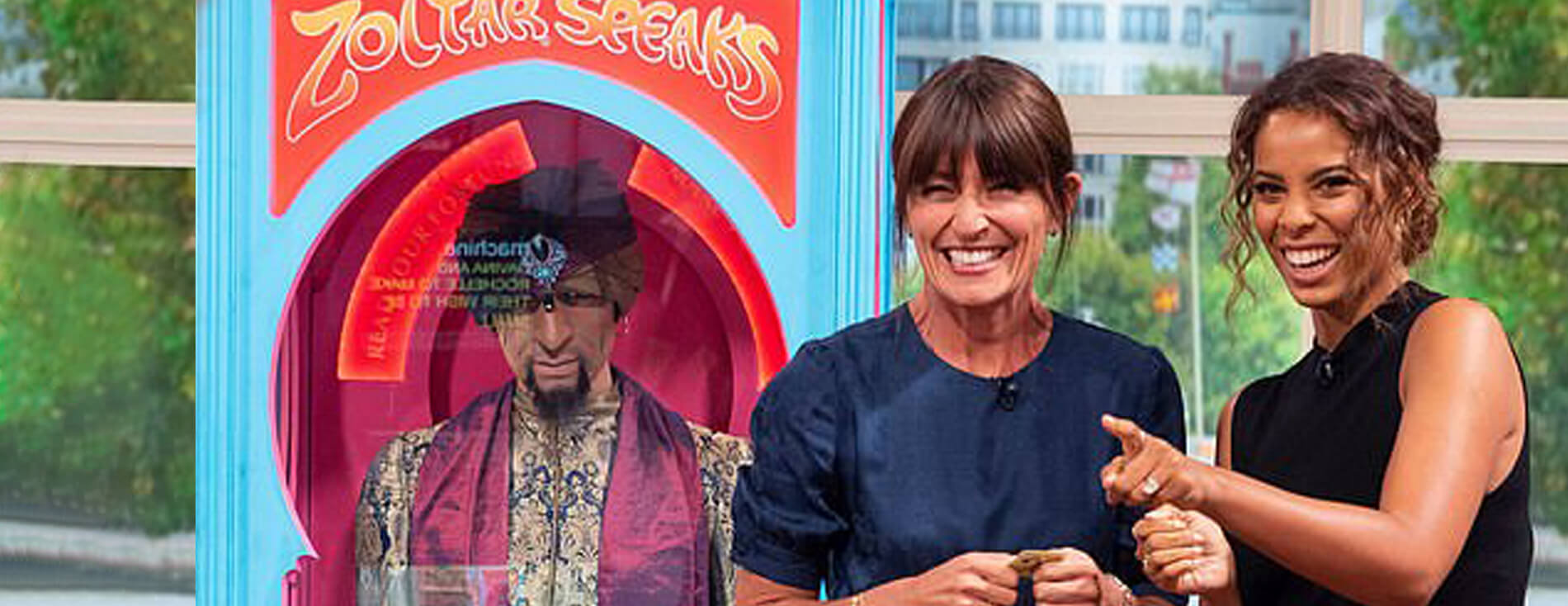 Presenters Rochelle Humes and Davina McCall with our Zoltar Fortune Teller for hire