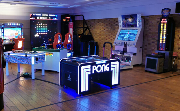 Atari Pong, Space Invaders Frenzy, Dance Stages and many more arcade games available to hire for a full arcade installation