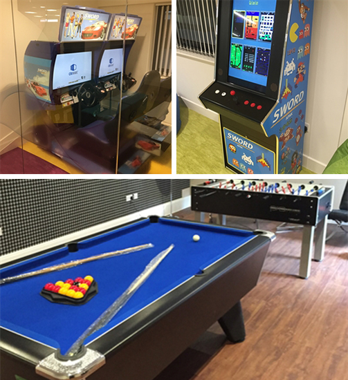 A selection of branded arcade games for hire